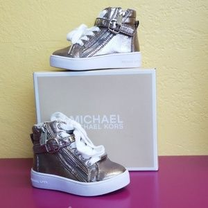 Michael Kors High top tennis shoes gold sz 6 girls